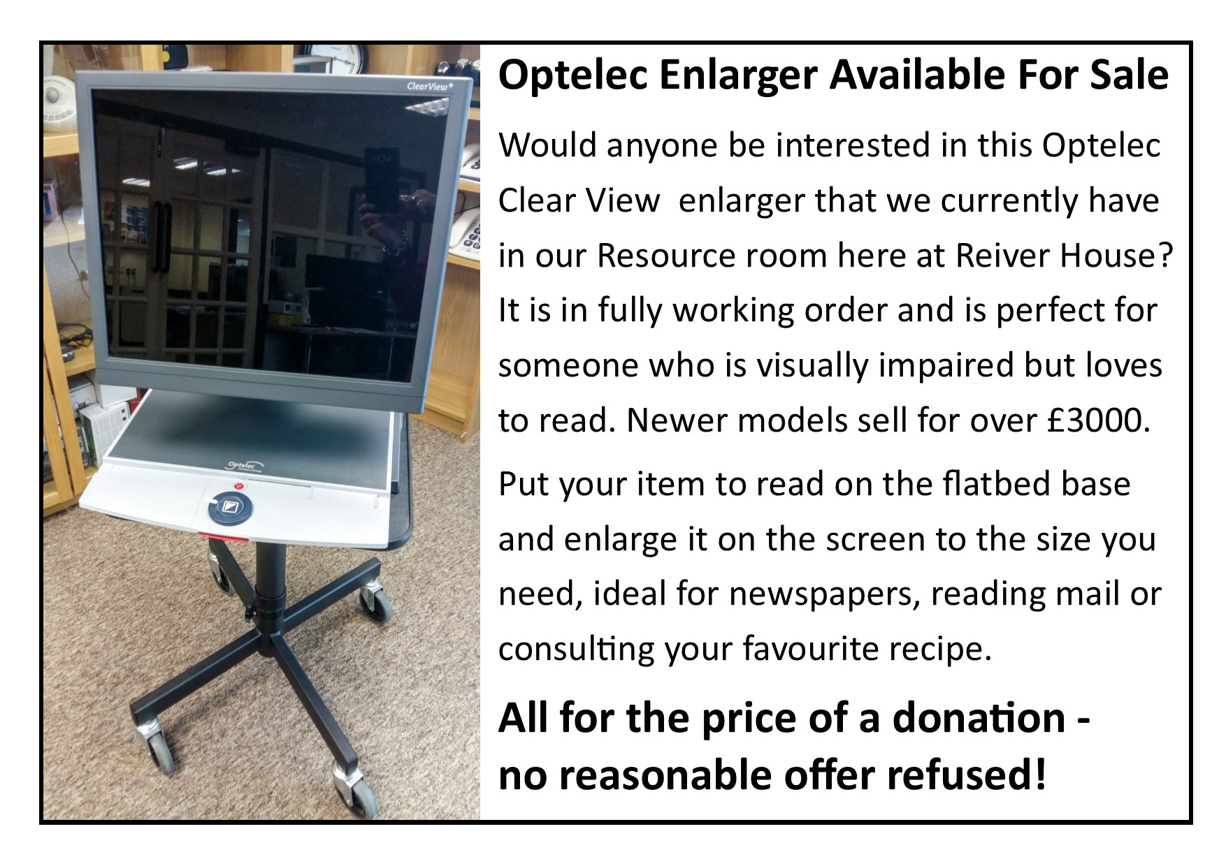 Optelec Enlarger For Sale!